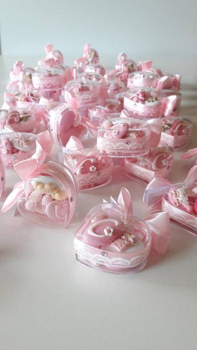 Cuore di confetti - segnaposto battesimo - nascita - bombonirre battesimo