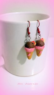Orecchini in fimo handmade coni gelato idea regalo donna