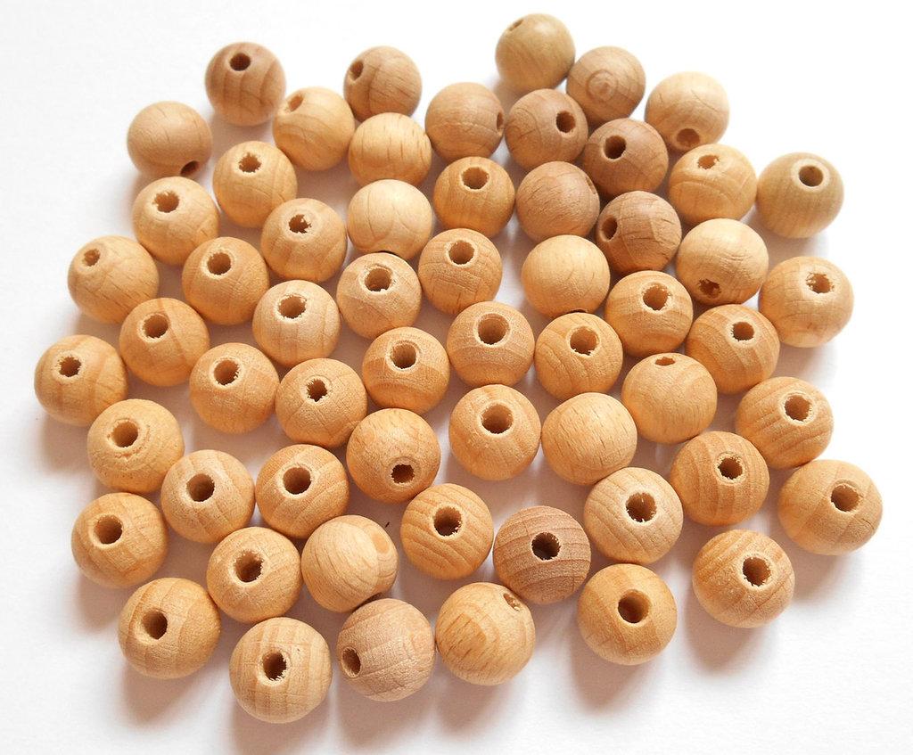 Lotto perle legno naturale 10mm 59pz
