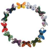 BRACCIALE FARFALLE 02 - realizzato artigianalmente con farfalline multicolori serigrafate in smalti a cottura