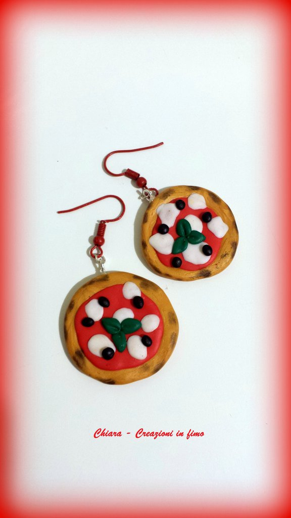 Orecchini in fimo handmade pizza idea regalo