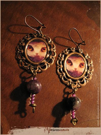 ORECCHINI GUFO-Owl illustration earrings with sugilite stones
