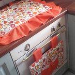 IN SALDO* copri forno e copri fornelli con fantasia in arancione