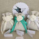 Sacchetti porta confetti bomboniere con gessetto angelo