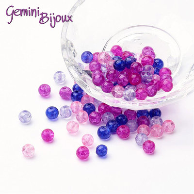"Lotto 50 perle tonde crackle 6mm mix ""Valentine"" fuxia blu"