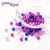 "Lotto 50 perle tonde crackle 6mm mix ""Valentine"" fuxia blu"