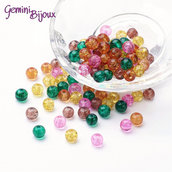 "Lotto 50 perle tonde crackle 6mm mix ""Autunno"""