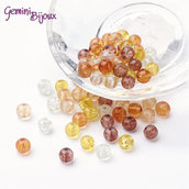 "Lotto 50 perle tonde crackle 6mm mix ""Caramel"""