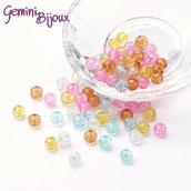 "Lotto 50 perle tonde crackle 6mm mix ""Pastello"""