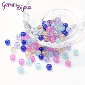 "Lotto 50 perle tonde crackle 6mm mix ""Lavanda"""