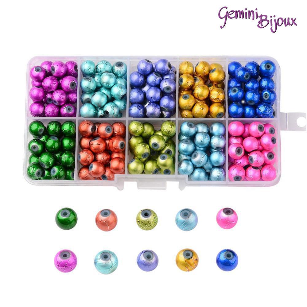 Box 250 Perle in vetro tonde spruzzate da 8mm, 10 colori