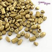 Lotto 30 grammi perle acriliche placcate dorate, mix di forme