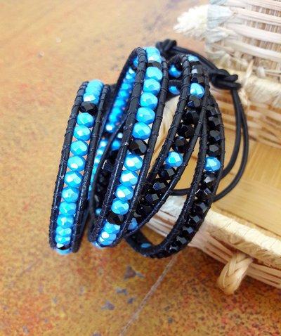 Bracciale Bohemian in cuoio, Chan Luu Style, Nero, Azzurro, Mezzi Cristalli, idea regalo per lei