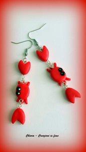 Orecchini in fimo handmade granchi rossi kawaii idea regalo donna