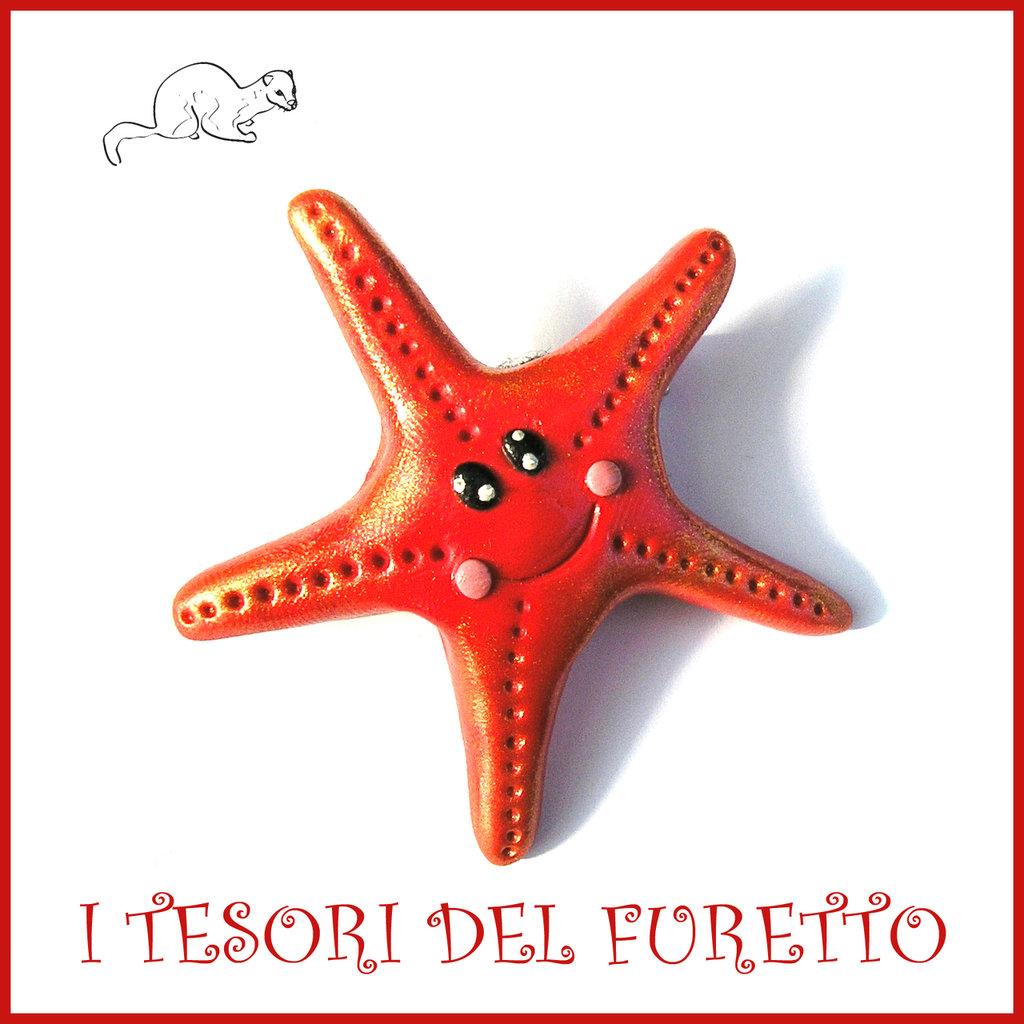 """Spilla estate 2017 """" stella marina """" rosso corallo idea regalo estiva Fimo cernit estivi accessori spiaggia Kawaii"""