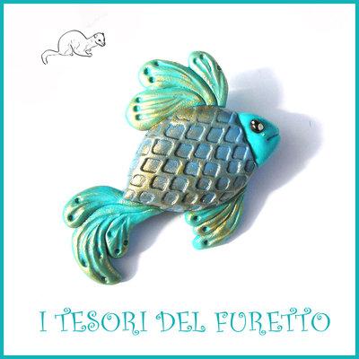 """Spilla estate 2017 """" pesciolino azzurro """" pesce Fimo cernit Kawaii idea regalo estiva estate accessori borsa"""