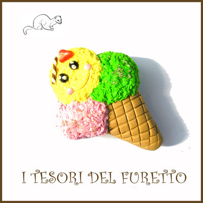 "Spilla estate 2017 "" Gelato fragola "" Fimo cernit Kawaii idea regalo estiva estate accessori borsa"