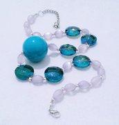 """collana/girocollo con cristalli azzurri """"Mare di Giugno"""""""