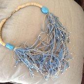 Collana in spago di lino e palline d'argento