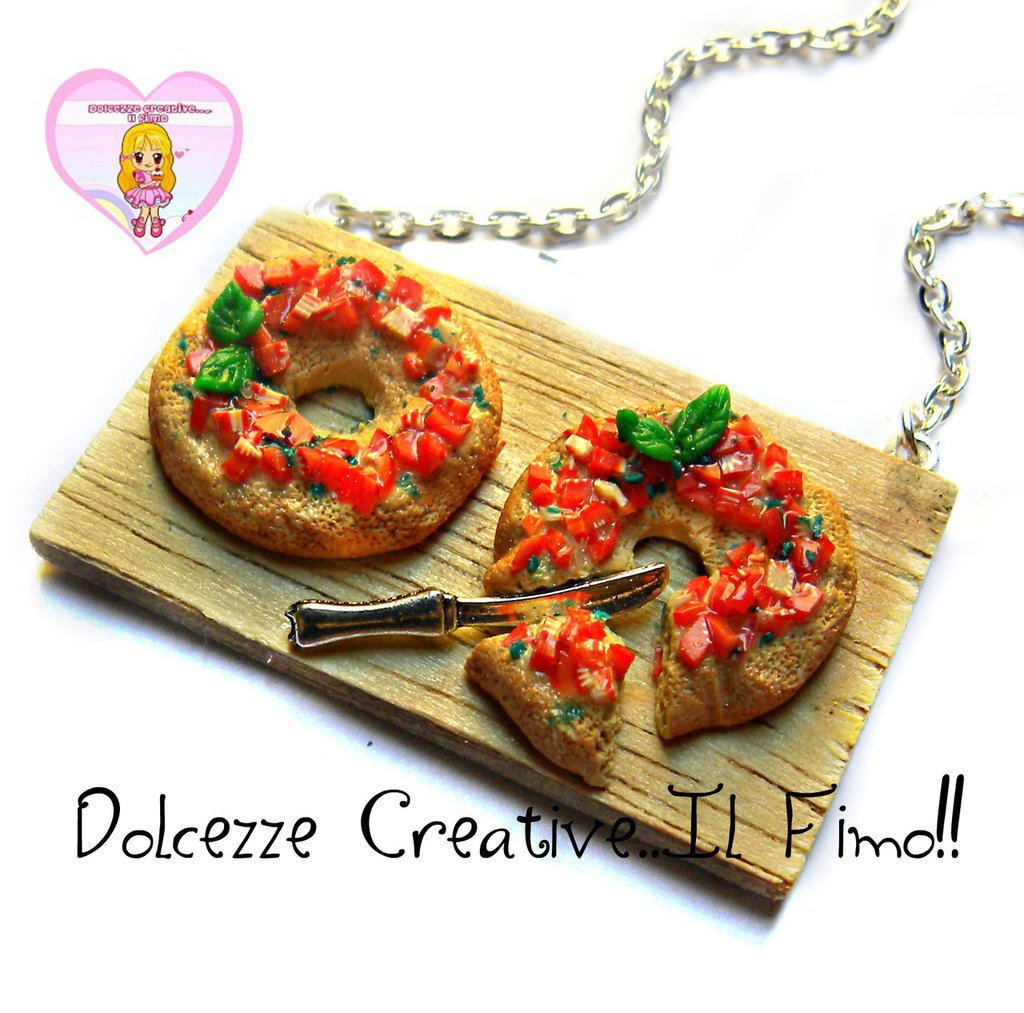 Collana Vassoio con freselle al pomodoro - friselle - handmade miniature kawaii