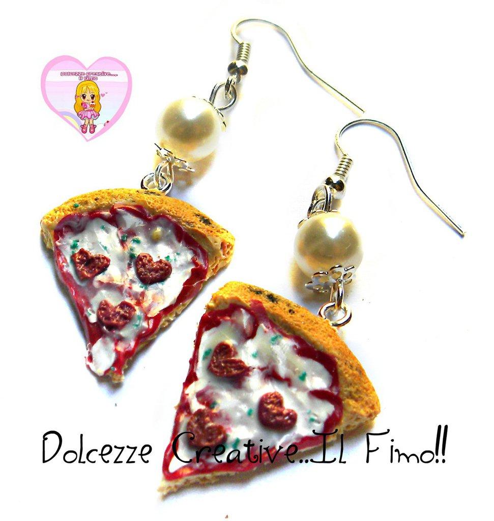 Orecchini fette di pizza al pomodoro con salame a forma di cuore - handmade idea regalo kawaii