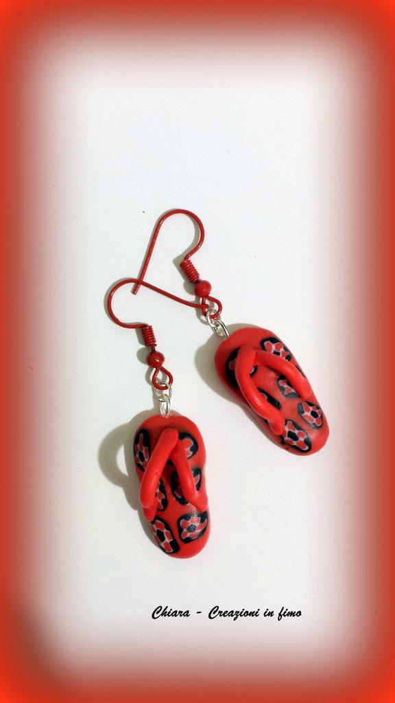 Orecchini in fimo handmade estivi infradito kawaii idea regalo donna