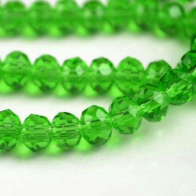 70 rondelle in vetro sfaccettate 8x6mm verde