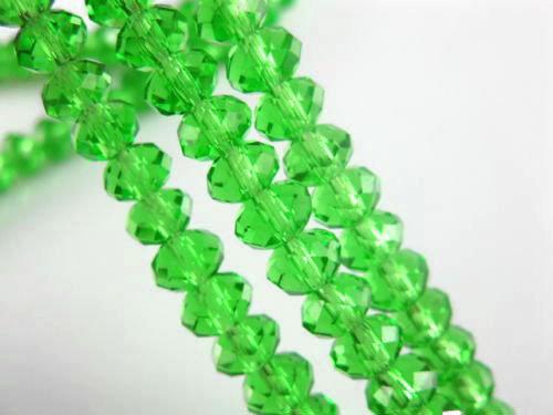 92 rondelle in vetro sfaccettate 6x4mm verde