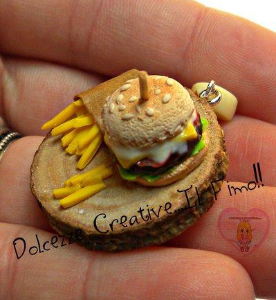 Collana vassoio con hamburger e patatine fritte - miniature kawaii idea regalo - cute