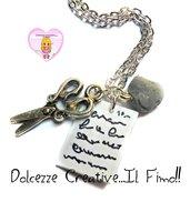 Collana Morra cinese - Sasso, forbici, carta! - miniature handmade idea regalo