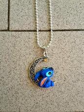 Collana con Stitch su mezzaluna fimo