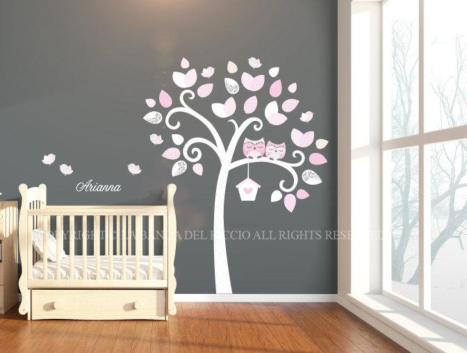 Albero con gufetti, adesivi murali per bambini decalcomanie