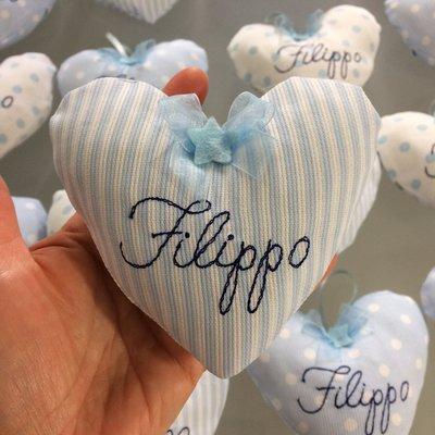 Bomboniera cuore cicogna o nome bimba o bimbo con tasca per confetti