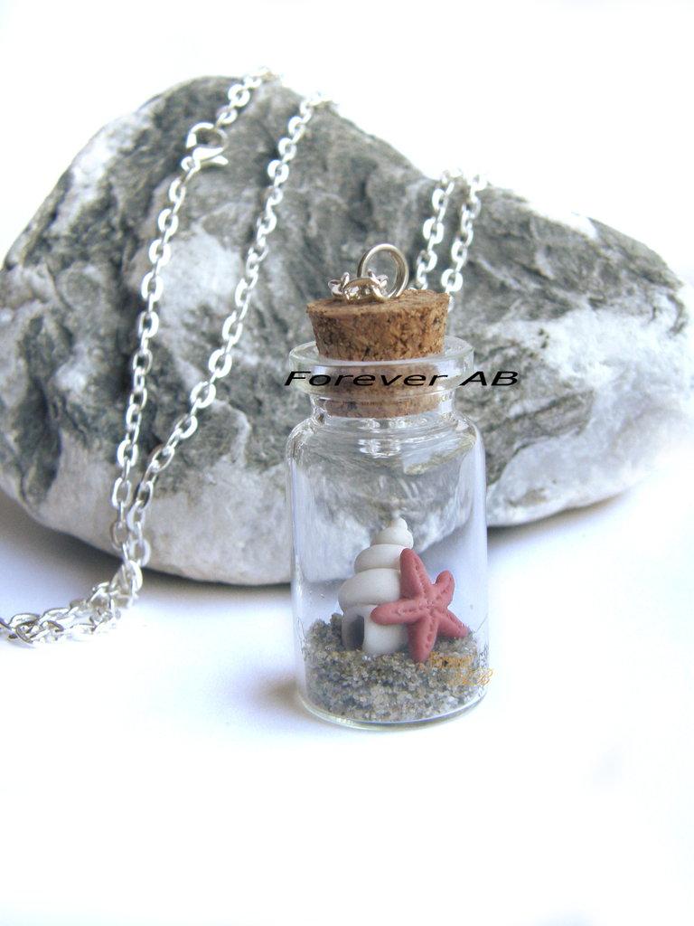 Collana Boccetta conchiglia stella marina rossa bottiglietta idea regalo ragazza donna