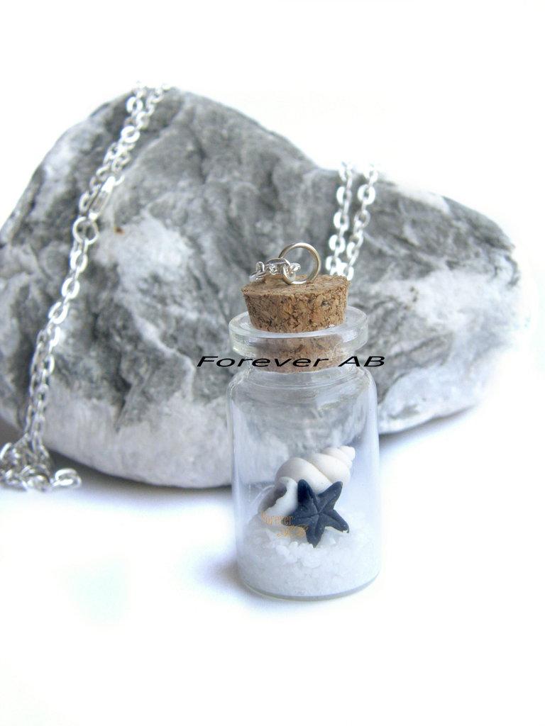 Collana Boccetta conchiglia stella marina nero bottiglietta regalo ragazza donna