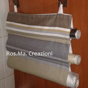 Porta Rotoli da Cucina con 3 scomparti in stoffa Fatto a Mano