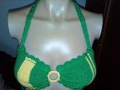 Bikini top uncinetto donna cotone Brasilian colors pezzo sopra da abbinare