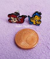 Orecchini lobo La Sirenetta Ariel Flounder The little mermaid friends pesce cartoni animati Disne anime