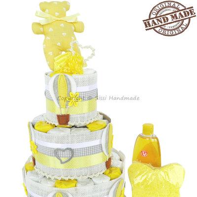 Torta di pannolini con mongolfiere gialle