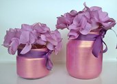 Coppia vasi vetro barattoli decorati rosa