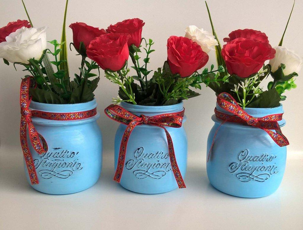 Tris vasi vetro Quattro Stagioni barttoli decorativi decorati a mano