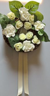 Ghirlanda coroncina fiorita decorazione fuoriporta