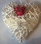 Cuore fuoriporta decorato cuore vimini con fiori