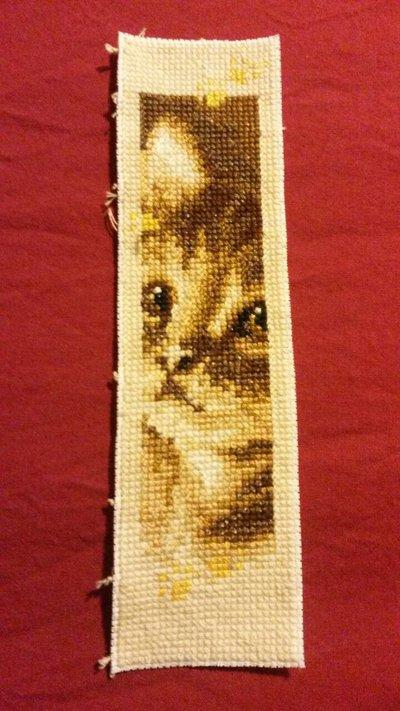 Segnalibro gatto punto croce