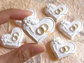 15 pz Gessetti Cuore matrimonio con fedi  anelli per bomboniere segnaposto  cuori
