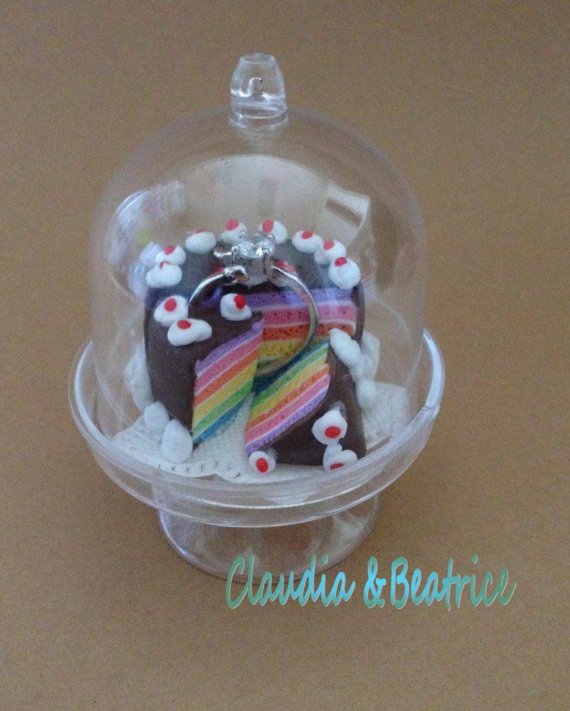 Alzatina con torta arcobaleno fatta a mano in fimo. Ideale ...