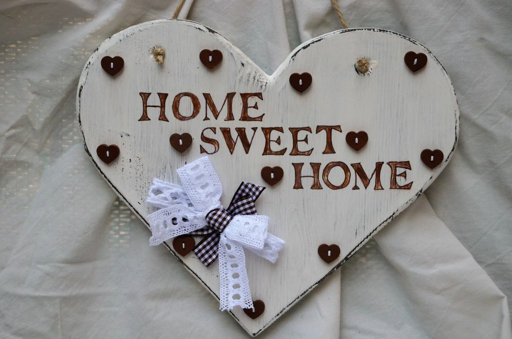 "Fuoriporta Cuore Shabby Chic ""HOME SWEET HOME """