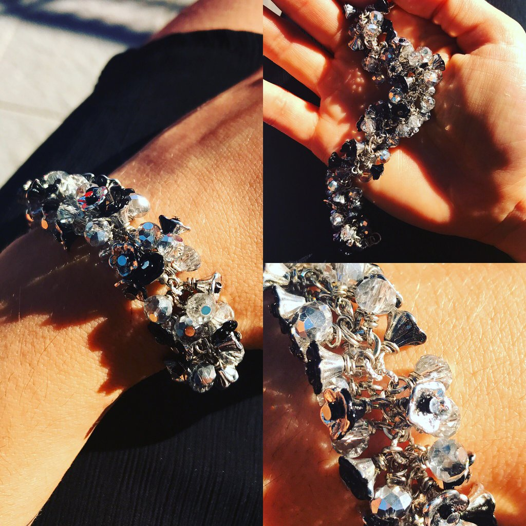 Bracciale Petaloso - Silver/Black