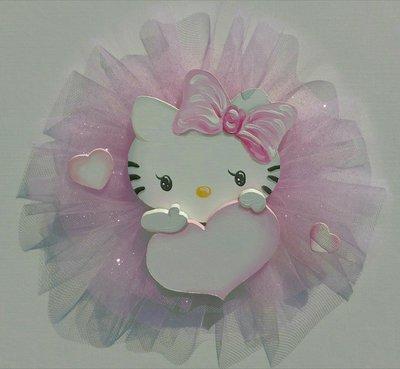 Fiocco nascita Hello Kitty  con nome e tulle