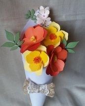 Fiori di carta in cono - mini bouquet